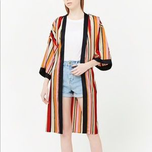 NWT Forever 21 Striped Satin Kimono SZ-Small